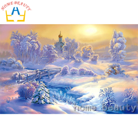 Diy Diamond Mosaic Paint On Canvas 5d Cross Stitch Diamond Painting Embroidery Needlework Landscape Picture Snow