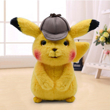 25cm Animation Movie New Arrival Kawaii Detective Pikachu Cute Cartoon Soft Plush Dolls Toys for Children Christmas Gift