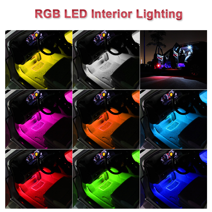 4pcs Car RGB LED Strip Light LED Strip Lights Colors Car Styling Decorative Atmosphere Lamps Car Interior Light With Remote 12V
