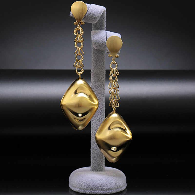 Nouvelles saoudiennes couleur or grande longue goutte Dangle boucles d'oreilles nigérian mariage bijoux ensemble de mariée dubaï robe accessoires ensembles de bijoux