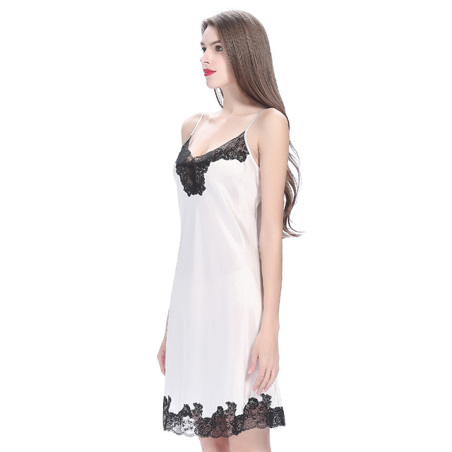 Lilysilk Sleepwear Nighty Natural Silk Women Summer Dress Spaghetti Strap  Sexy 22 Momme Floral Lace Trimmed 310f01a19