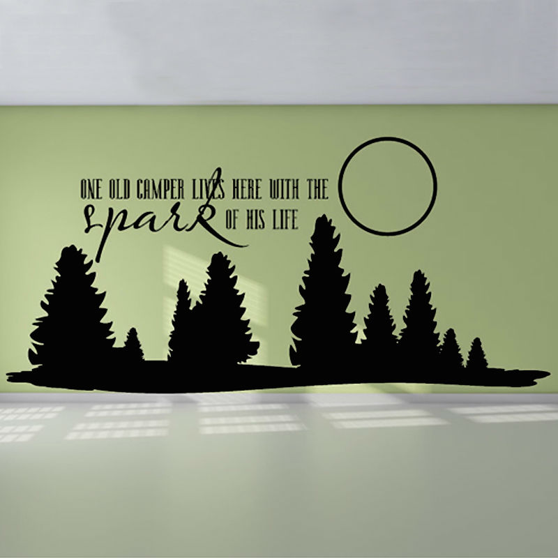 One old camper lives here vinyl art wall decal forest and moon mural removable wall sticker living room home decor in wall stickers from home garden on