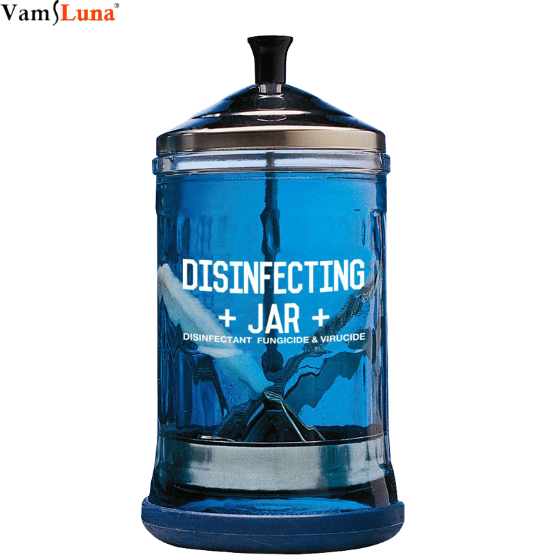 Disinfectant Jar For Styling Barber Salon,Sanitizing Manicure Glass Jar- Medium Size Easy To Sanitize And Disinfect  Tools