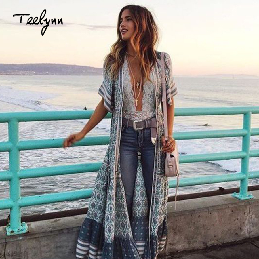TEELYNN Boho long dress 2018 rayon green floral print sexy v-neck short sleeve beach wear summer dress chic women dress vestido