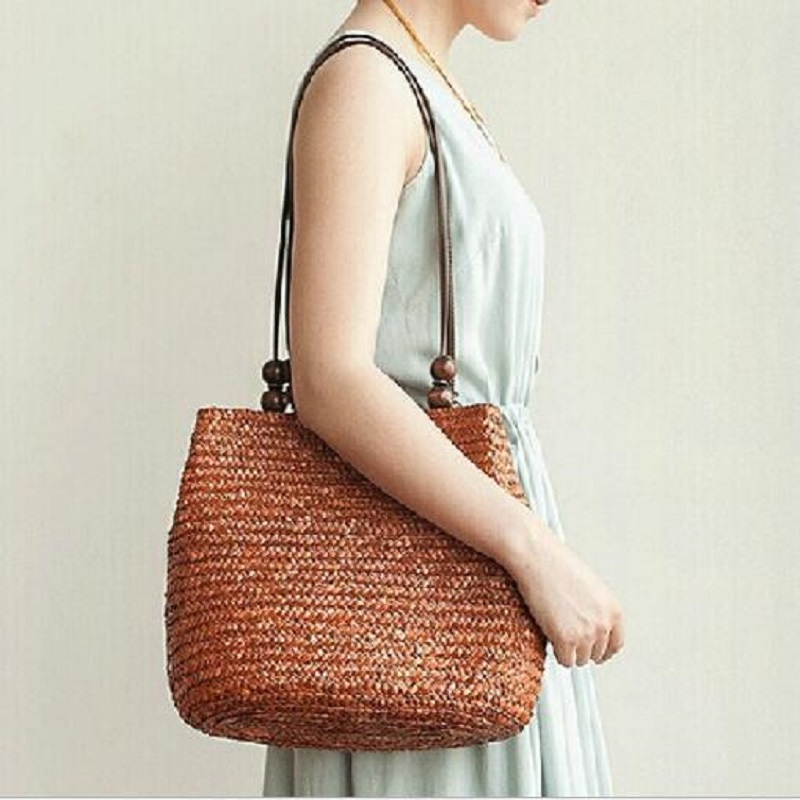 Women Fashion Designer Lace Handbags Tote Bags Handbag Wicker Rattan Bag Shoulder Bag Shopping Straw Bag Highcapacity Sac s Main
