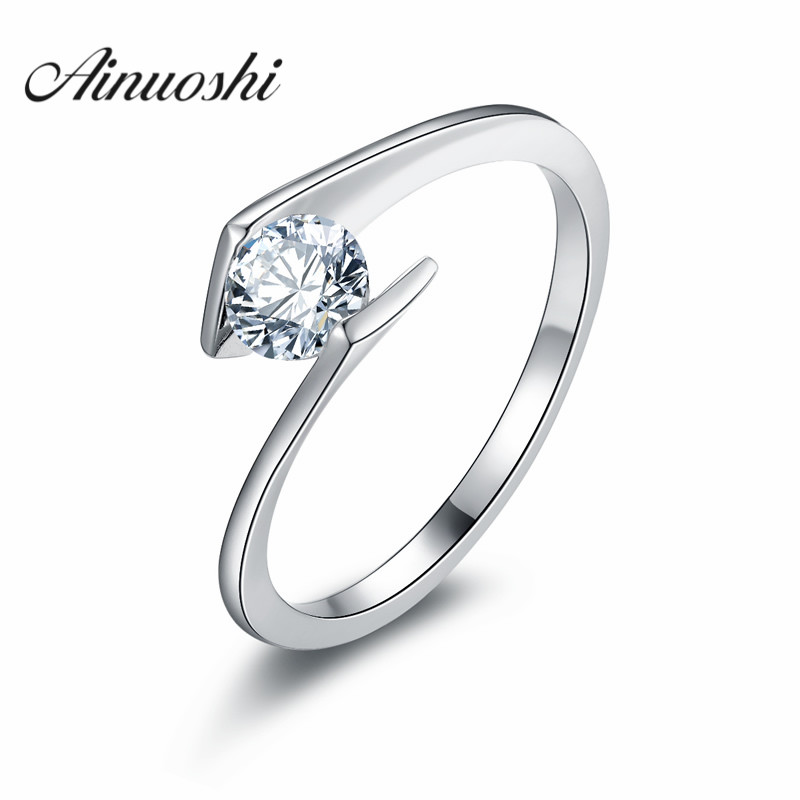 AINOUSHI Luxury Sona Solitaire Ring Hearts and Arrows Round Cut Engagement Ring Solid 925 Sterling Silver Twist Ring обои виниловые на бумажной основе 10 05х0 53м