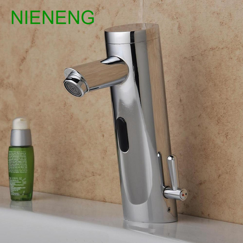 NIENENG sensor faucet bathroom sink mixer hot cold water automatic ...