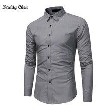 2018 brand Formal shirt men fashion slim fit Solid gray blac