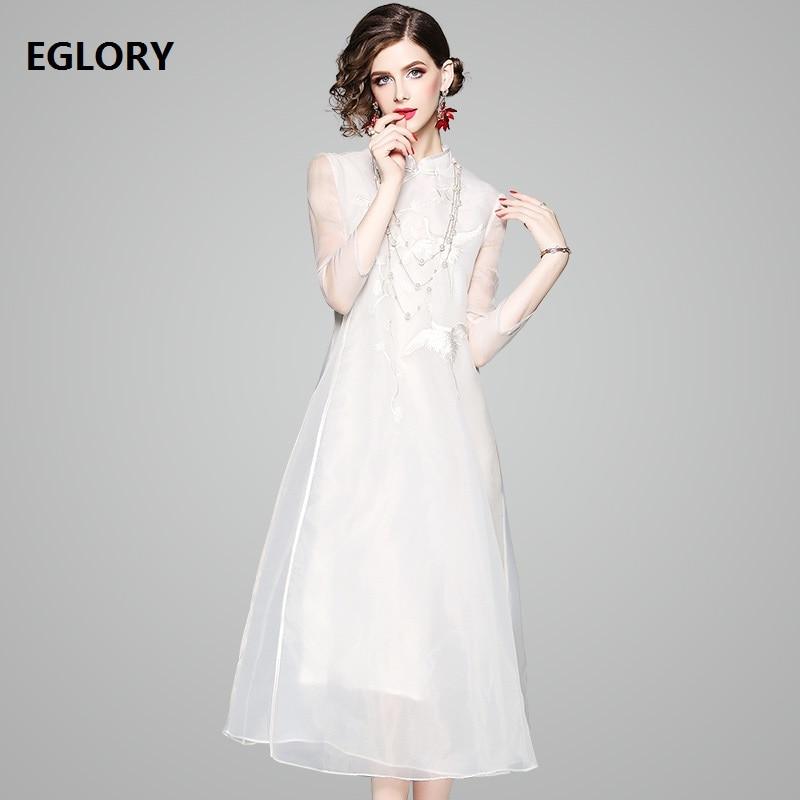 Chinois Qipao Femmes De Dame Tunique Mariage Nouvelle Parti Robe Midi Blanc Style Marque Neige Mignon Oiseaux Broderie D'été a0waIxR