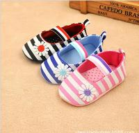 2016 spring Cotton baby First Walker Flower Baby Girl shoes Striped infant Shoes Cute Toddler Shoes children shoes newborn