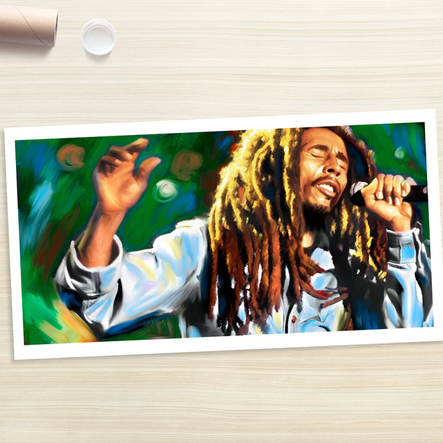 bob marley Rock ART oil painting-  Reggae ROCK Music ART 40 inch LARGE -100% hand painted WORK—-free shipping cost