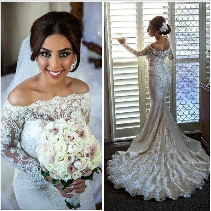 Off The Shoulder Lace Appliques Mermaid Chapel Train With Beading Vestido De Noiva Bridal Gown 2018 Mother Of The Bride Dresses