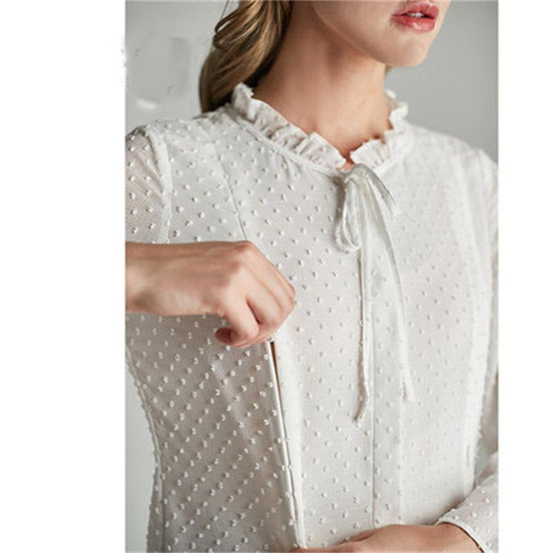 Maternity dress wave cut flower chiffon pregnant women shirt trumpet sleeve pregnant women breastfeeding shirt 2018 autumn new