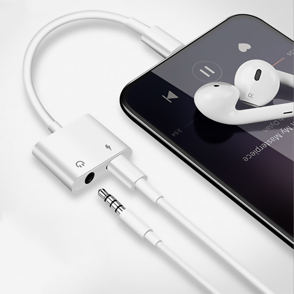 For IPhone 7 X 8 Plus Dual Headphone For IPhone Adapter For Lightning To 3.5mm Splitter Charging For Lightning Adapter IOS 12.2