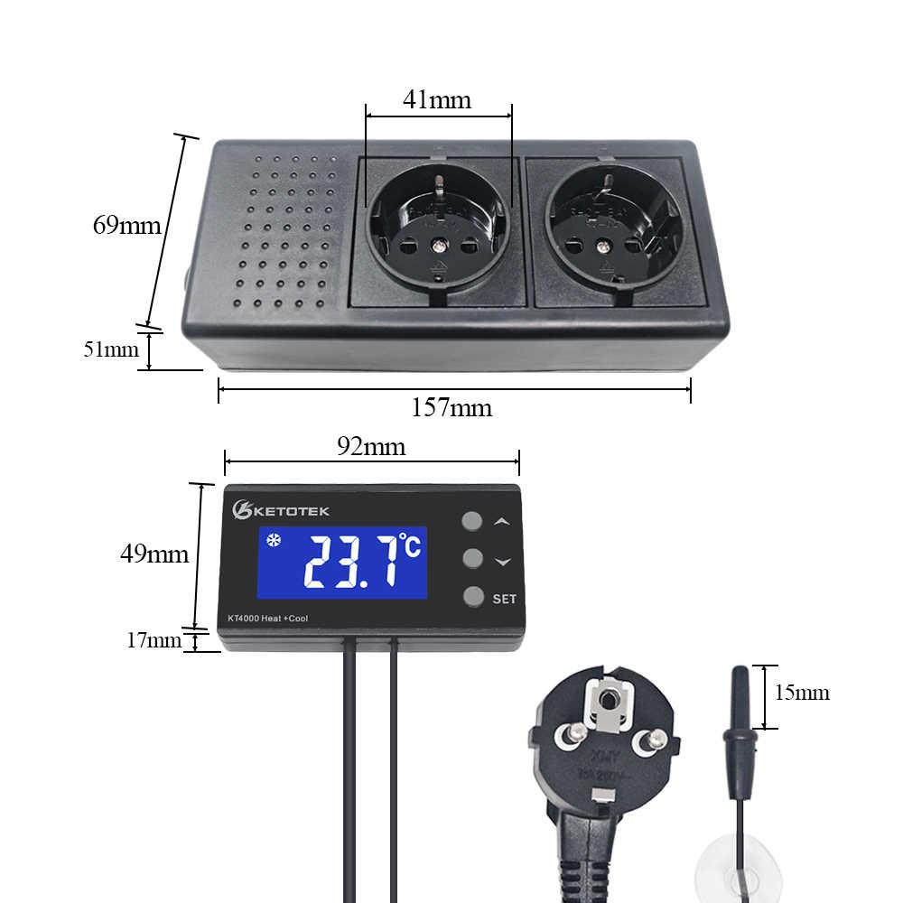 Ketotek KT4000 ดิจิตอลคอนโทรลเลอร์อุณหภูมิเซนเซอร์กันน้ำ US EU Plug Outlet LCD 2 STAGE เครื่องทำความร้อนโหมด