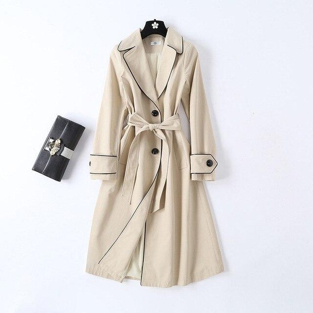 New 2019 mùa xuân phụ nữ thanh lịch của áo khoác Chic vành đai áo khoác G164