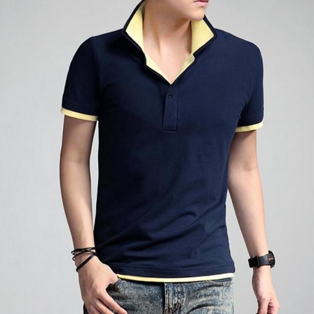 #1003 Тонкий Мужские футболки мода 2016 Двойной воротник С Коротким рукавом футболка homme Мода Сплошной цвет футболку XXXL