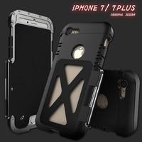 Luxury doom armor Dirt Shockproof Metal Aluminum phone case For iphone 7 Tempered glass Armor King Iron Man Steel Flip R just