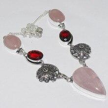 Rose Quartz & Garnets  Necklace Silver Overlay over Copper , 49.2cm, N1062