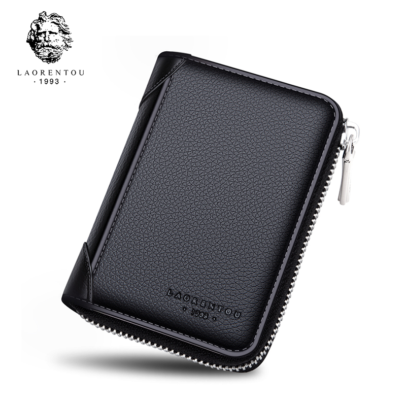 LAORENTOU Business-Card-Holder Coin-Pocket Small Male Genuine-Leather High-Quality Brand