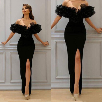 Simple Sexy Black Sheath Evening Dresses 2019 New Custom Ruffled Floor Length High Split Off-the-shoulder Formal Party Gowns