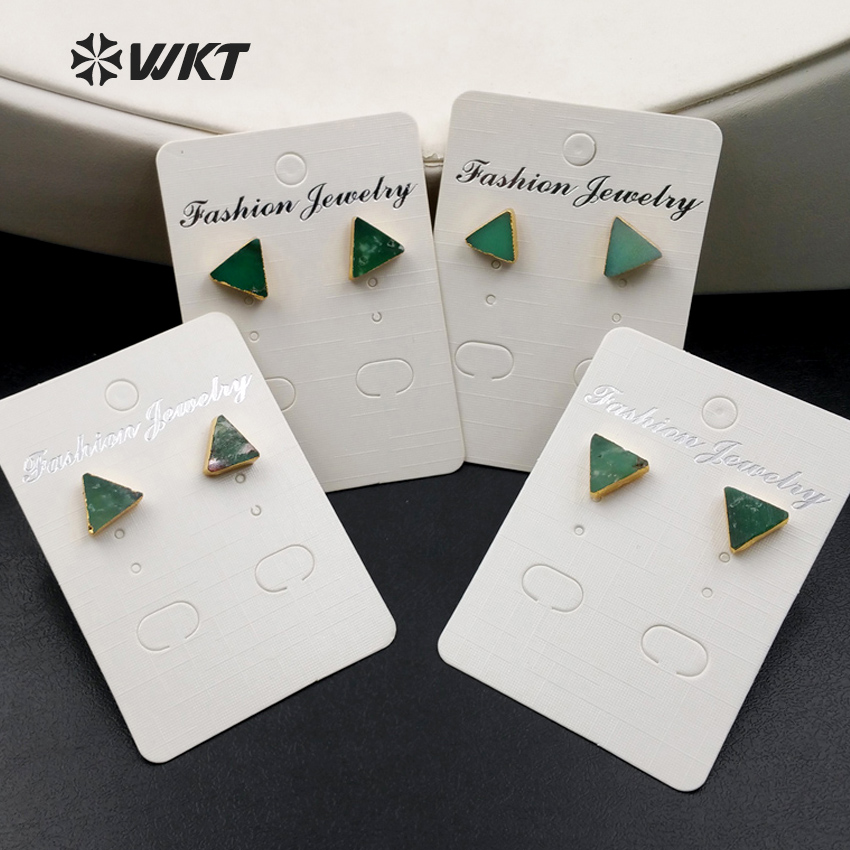 WT E373 Wholesale Triangle Gems studs with gold delta bowlder studs Yu stone studs Australia Chrysoprase