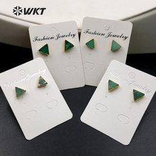 WT-E373 Wholesale Triangle Gems studs with gold delta bowlder studs Yu stone studs Australia Chrysoprase studs with gold plating(China)