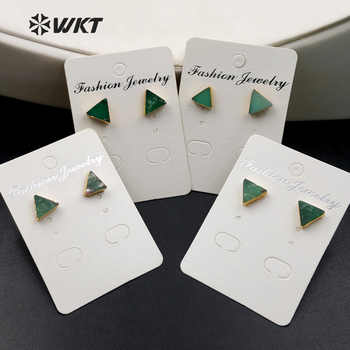 WT-E373 Wholesale Triangle Gems studs with gold delta bowlder studs Yu stone studs Australia Chrysoprase studs with gold plating - DISCOUNT ITEM  10% OFF All Category