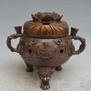 China carved frog luck Red copper water lily incense burner Statue