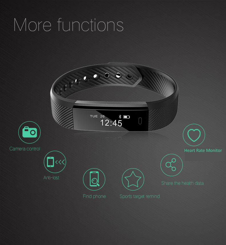Hold Mi Smart Band ID115 HR Bluetooth Wristband Heart Rate Monitor Fitness Tracker Pedometer Bracelet For Phone 11