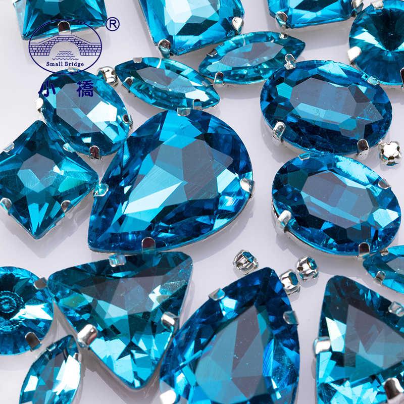 אגם כחול Flatback Rhinestones עבור בגדי מעורב צורת לתפור על אבנים דקורטיבי קריסטל Rhinestones עם טופר 50 יח'\אריזה S042