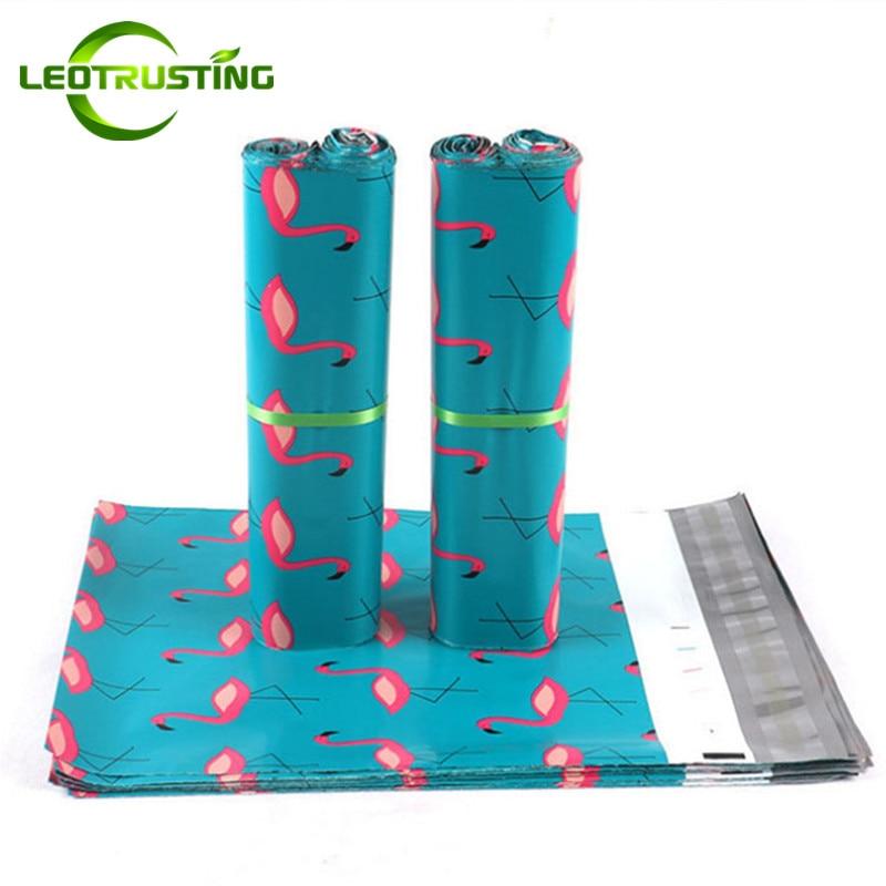 25x35 см (10*13,5 дюймов) Синий Фламинго Поли Мейлер клей Конверты сумка курьера обувь шарф перчатки Пластик подарок пересылая мешки
