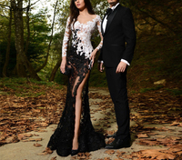 Sexy Black/White Lace Appliques High Split Prom dress See Through Mermaid Formal Evening Dress Party Gowns