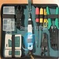 Fibra óptica Kit De Ferramentas de Rede de Instalação da Ferramenta 10 pcs Kit de Ferramentas de Rede LAN Cable Tester Crimper Stripper Conjunto maleta de ferramentas web
