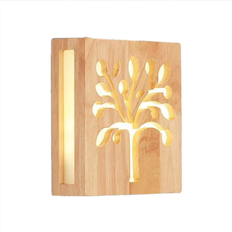 Modern wall lamp trees wood light indoor lighting LED light fixture The coffe bar restaurant shop wall decorating
