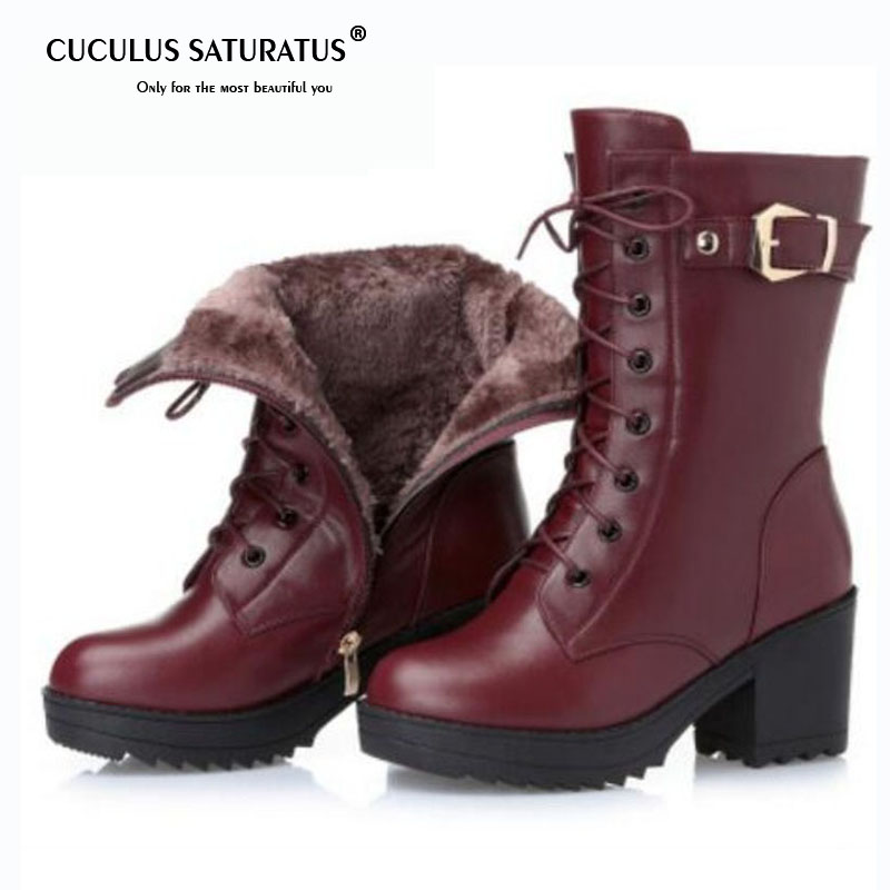 Cuculus High-heeled genuine leather women winter boots, thick wool warm women Martin boots, high-quality female snow boots 1784 2016women s genuine leather boots high heeled winter boots designer wool lining motorcycle boots thick snowshoe free shipping