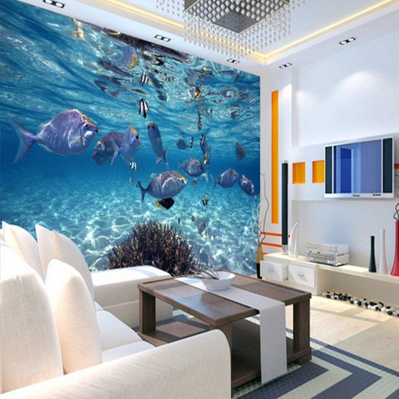 3D Wallpaper Cartoon Creative Submarine World Marine Life Mural Kids Bedroom  Aquarium Living Room Backdrop Wall Paper Home Decor In Wallpapers From Home  ...
