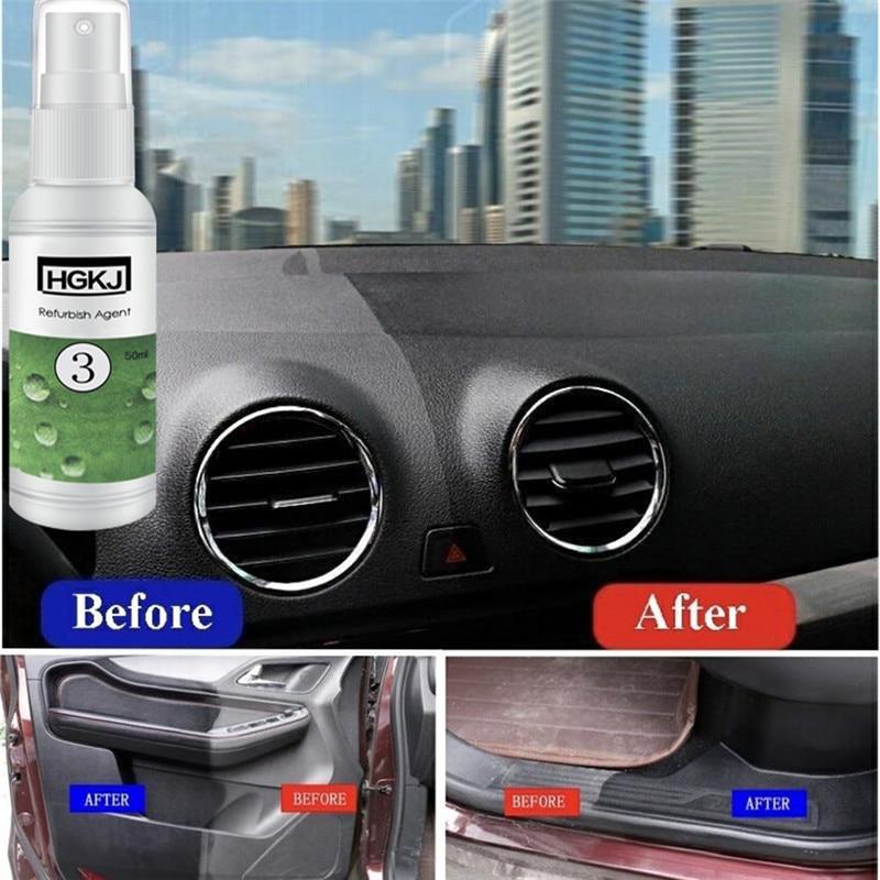 Agente de remodelação de couro automotivo, acessórios para automóveis, HGKJ-3-50ml plástico, manutenção de couro, limpador, agente remodelador