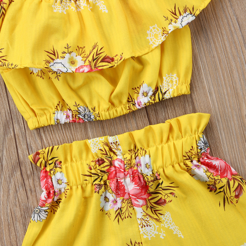 Summer Girls Clothes Sets Baby girls Sling T-shirt And Shorts Suit Tracksuit For Kids Clothes Fashion Children Clothing Set (4)