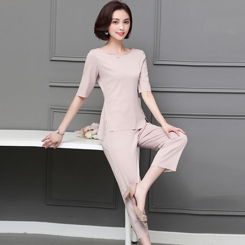 M-5xl Summer Two Piece Sets Women Plus Size Half Sleeve Tops And Pants Suits Pink Black Casual Office Elegant Women's Sets 2019 45