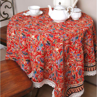 Rectangular Tablecloth Red Floral Table Cloth Classical Wedding Table Cloths Embroidered Tablecloth Dining Bar Accessories