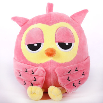 Stuffed animal 25cm pink owl plush toy soft doll w3496