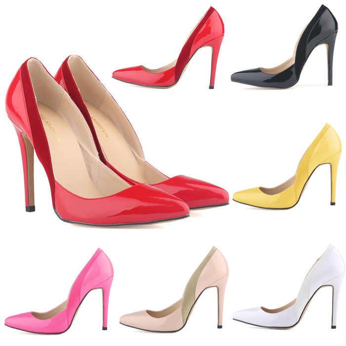 Zapatos de tacón alto de charol para mujer zapatos de mujer pu puntiagudos 11 CM tacones delgados Colorblock zapatos de diseñador de lujo para mujer