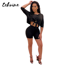 Echoine 2 Two Piece Set Women Crop Tops And Biker Shorts Sweat Casual Suits Sexy 3/4 Sleeve Club Solid Color Outfits Tracksuits kgfigu two piece set 2019 summer high neck short sleeve cropped tops and shorts tracksuits women outfits 2 piece set women