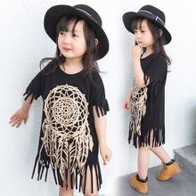 2017 Newborn New Baby Girl Clothes Kids Toddler Summer Cotton Short Sleeve Tassel Top Shirts Jersey Fashion Blouse Tops Clothes