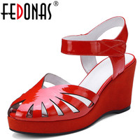FEDONAS Women Sandals 2018Summer Patent Leather Platform Black White Red Sandals Comfortable High Hoof Thick Heels Shoes Woman