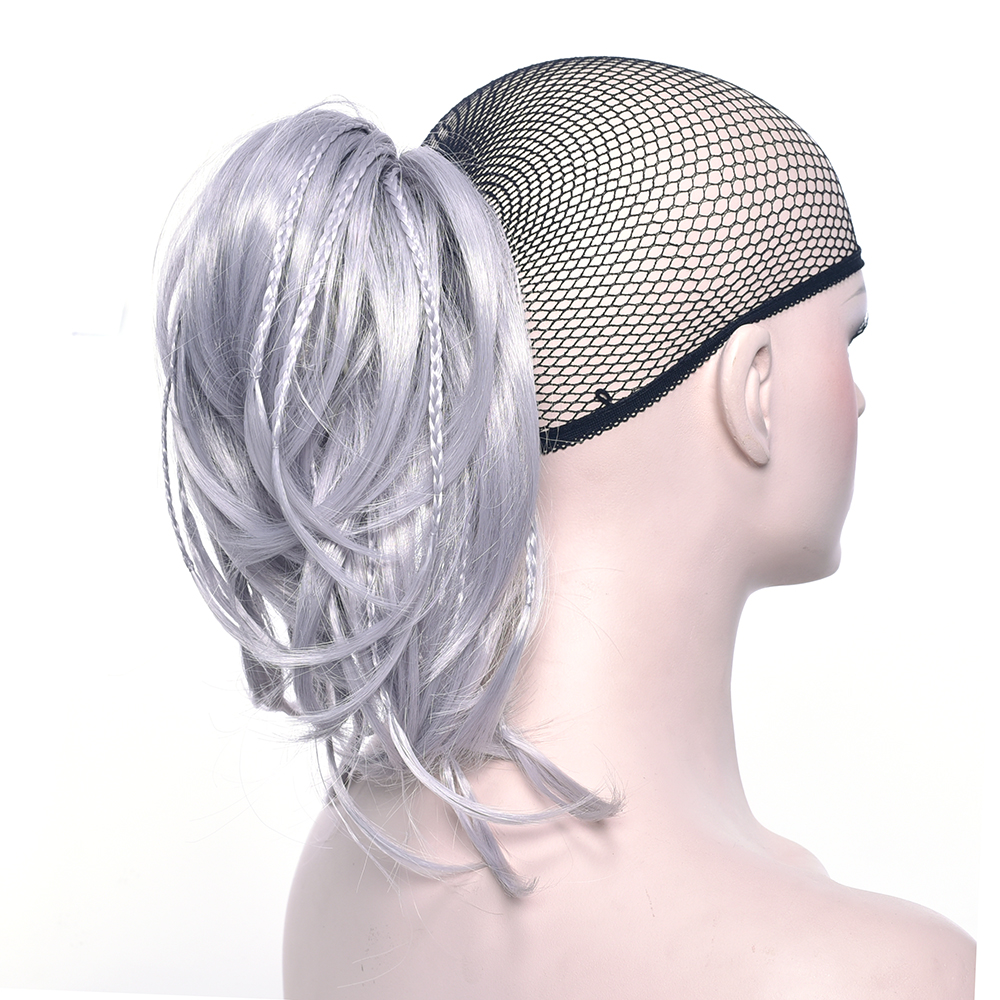 Soowee Gray Hairpiece Synthetic Hair Blonde Black Brown Short Clip In Hair Extensions Curly Little Pony Tail Claw Ponytail