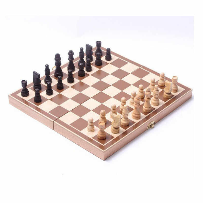 New 30*30CM Funny Folding Folable Wooden International Chess Set Board Game Funny Game Sports Entertainment Free Shipping