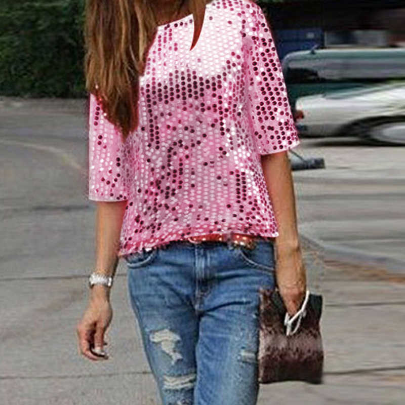 1392132ce263d2 3XL Plus Size Sequined Bling Shiny Blouse Women Fashion Half Sleeve Loose  Summer Tops Golden Sliver