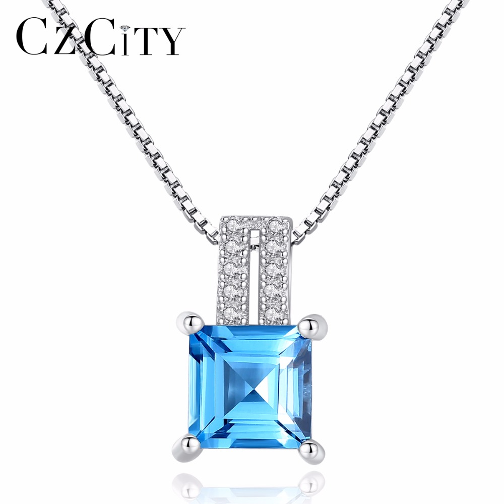 CZCITY 925 Sterling Silver Cushion-Cut Genuine Sky Blue Topaz Pendant Necklace With 40+5cm Box Chain Fine Silver Jewelry WomenCZCITY 925 Sterling Silver Cushion-Cut Genuine Sky Blue Topaz Pendant Necklace With 40+5cm Box Chain Fine Silver Jewelry Women